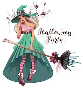 Косплей модное платье для хэллоуина красивая молодая женщина