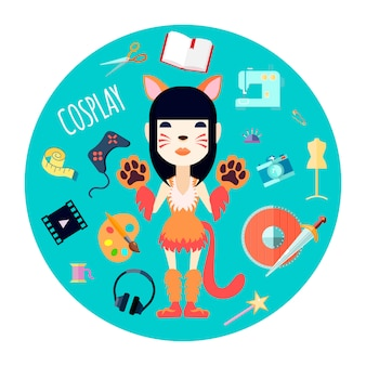 Девушка-персонаж косплеер в костюме кошки и модных аксессуарах