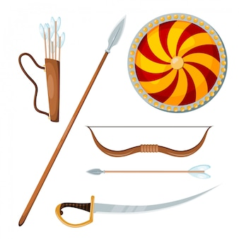 Cossack combat items on white