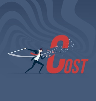 Cost cutting. businessman cut cost word with sword