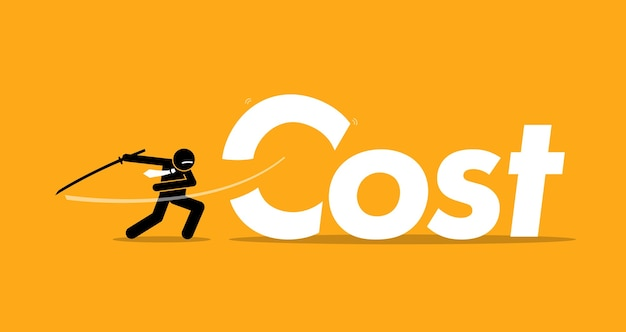 ビジネスマンによるコスト削減。アートワークは、インフレ、経費の削減、および利益の改善を表しています。