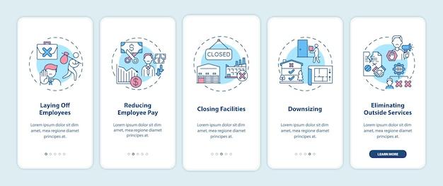 비용 절감은 개념이있는 모바일 앱 페이지 화면을 온 보딩합니다. 비즈니스 최적화 연습 5 단계 그래픽 지침. rgb 색상 삽화가있는 ui 템플릿