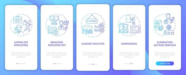 Меры по сокращению затрат: добавление концепций на экран страницы мобильного приложения. сокращение пошаговых инструкций по оплате труда сотрудников. шаблон пользовательского интерфейса с цветом rgb