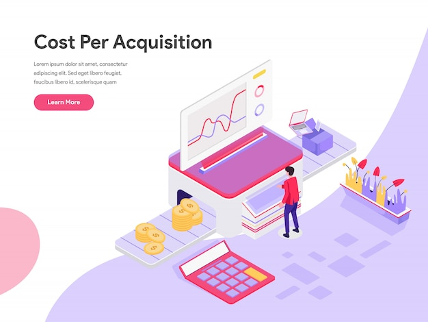 Cost per acquisition isometric illustration concept