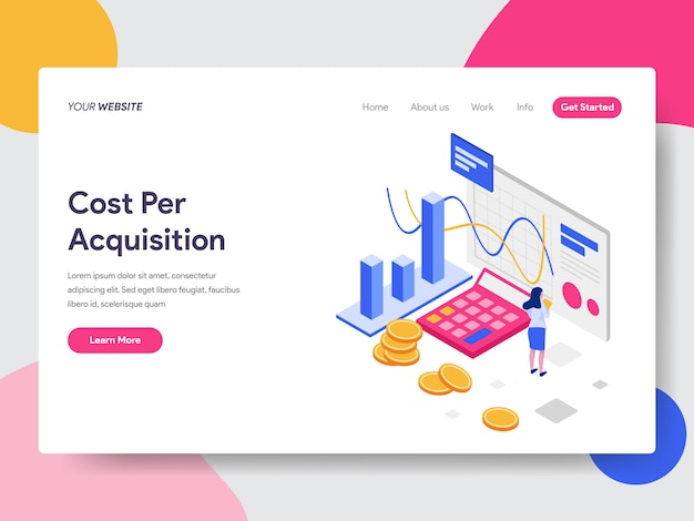 Cost per acquisition isometric illustration