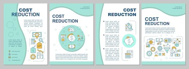 コスト削減パンフレットテンプレート。製品の市場価値を下げる。チラシ、小冊子、リーフレットプリント、線形アイコンのカバーデザイン。雑誌、年次報告書、広告ポスターのレイアウト