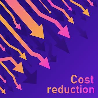 コスト削減のコンセプト。事業損失危機の減少。株式金融取引市場の図。販売変換アイデア細い線図。青(紫)の背景