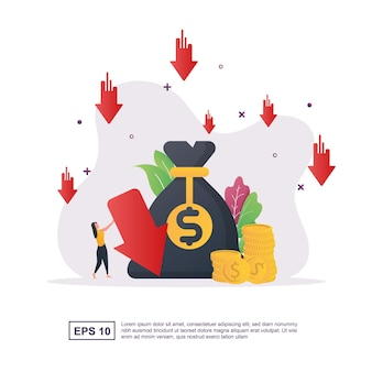 큰 돈 가방과 아래쪽을 가리키는 화살표가 있는 비용 절감 개념.