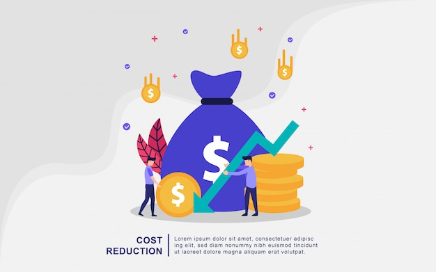 Cost reduction illustration concept with tiny people