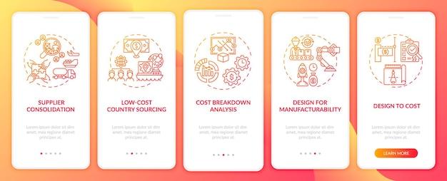개념이있는 모바일 앱 페이지 화면을 온 보딩하는 비용 절감 전략. 공급 업체 통합 연습 5 단계. rgb 색상의 ui 템플릿