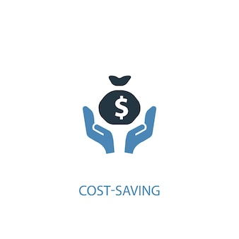 Cost-saving concept 2 colored icon. simple blue element illustration. cost-saving concept symbol design. can be used for web and mobile ui/ux