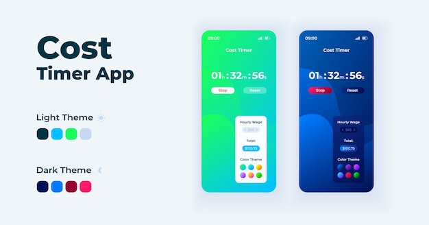 Cost timer app cartoon smartphone interface  templates set. mobile app screen page day and night modes . time tracking software ui for application. phone display with  illustrations
