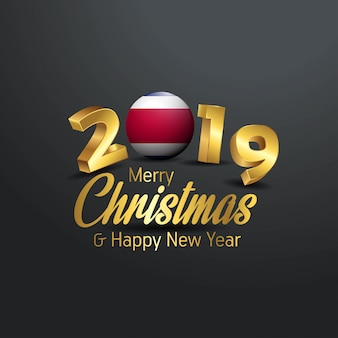 Costa rica flag 2019 merry christmas typography