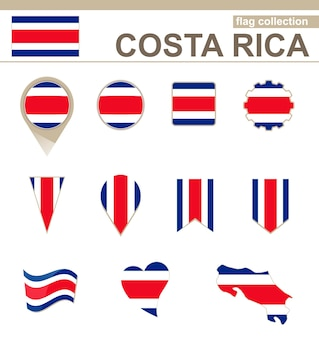 Costa rica flag collection, 12 versions
