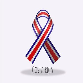 Costa rica flag ribbon design