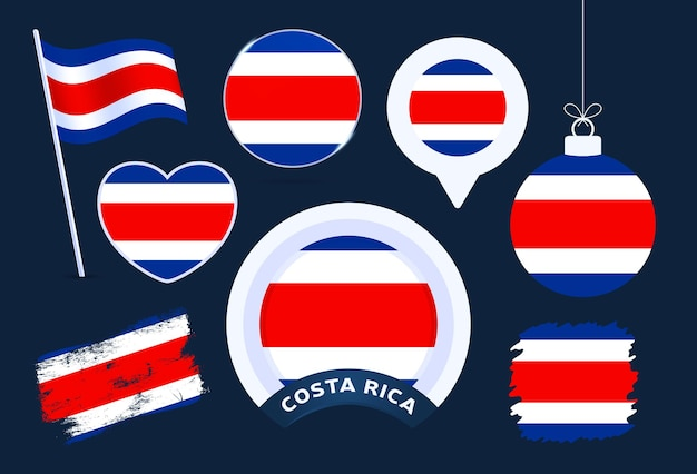Costa rica flag vector collection. big set of national flag design elements in different shapes for public and national holidays in flat style.
