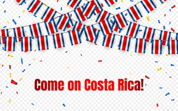 Costa rica garland flag with confetti on transparent background, hang bunting for celebration template banner,