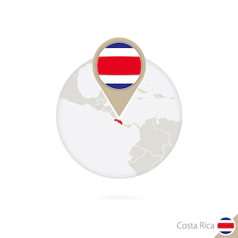 Costa rica map and flag in circle. map of costa rica, costa rica flag pin. map of costa rica in the style of the globe. vector illustration.
