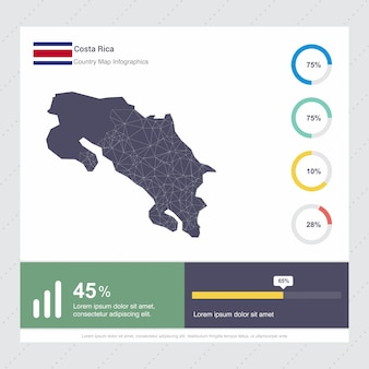 Costa rica map & flag infographics template