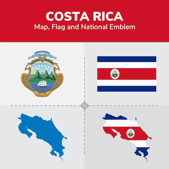 Costa rica map, flag and national emblem