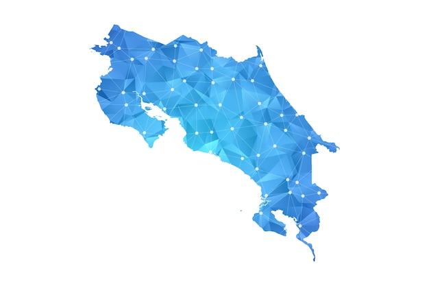Costa rica map line dots polygonal abstract geometric.