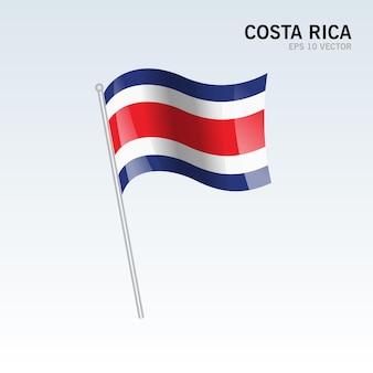 코스타리카 회색에 고립 된 깃발을 흔들며