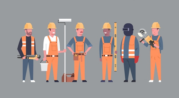 Costruction workers team industrial technicians mix race men builders group