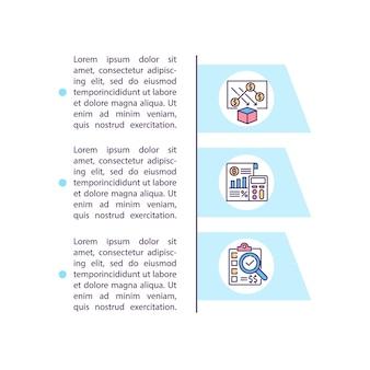 テキストとコスト分析の概念アイコン。さまざまな製品の価値に関する情報を確認します。 pptページテンプレート。