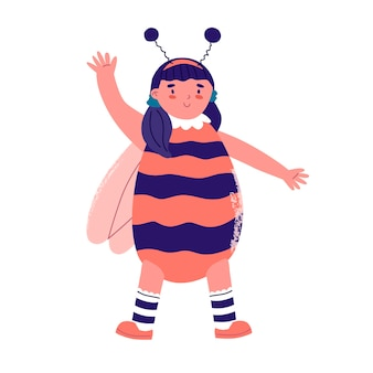 Costume new year party for children girl in festive costume bee celebrate holiday having fan