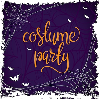 Costume party - halloween party hand drawn lettering phrase, isolated on the white.