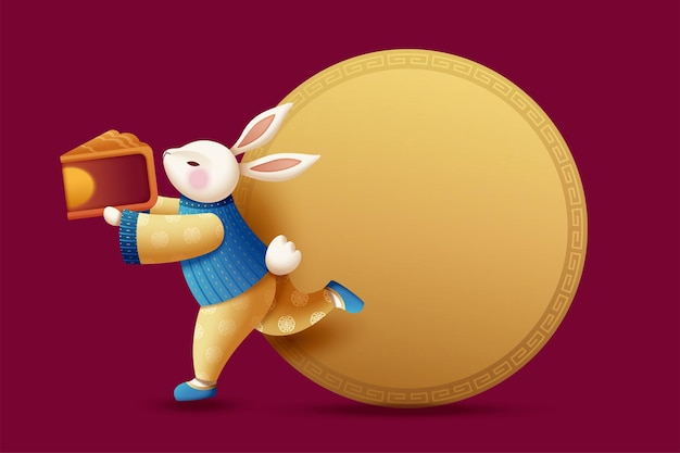 Costumed rabbit carrying mooncake with golden color round copy space for mid autumn festival