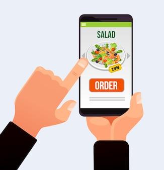 スマートフォンのタッチスクリーンにあるコスチュームハンドプッシュボタンと注文配達食品の作成。 webサイトアプリケーションテクノロジーを提供します。