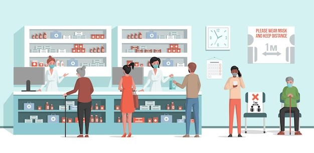 Costumers standing in line in pharmacy and buying pills flat illustration