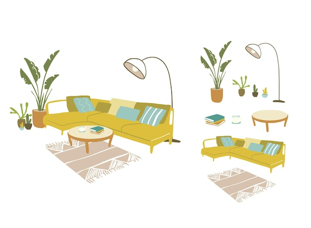 Cosy room, flat furniture interior design vector illustration