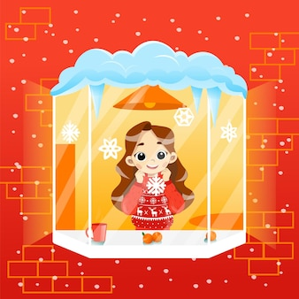 Cosy wintertime scene illustration in cartoon flat style with gradients. vector composition of schoolgirl character standing at windowsill looking outside. happy smiling child wearing sweater at home.