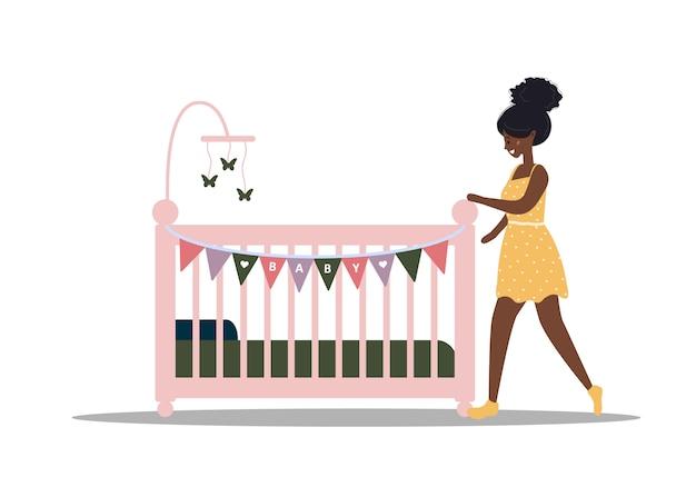 Значок детской кроватки. африканская девушка стоит у кроватки. простой элемент из коллекции иконок детские вещи. креативная детская колыбель для пользовательского интерфейса, пользовательского интерфейса, приложений, программного обеспечения и инфографики. иллюстрация в плоском стиле.