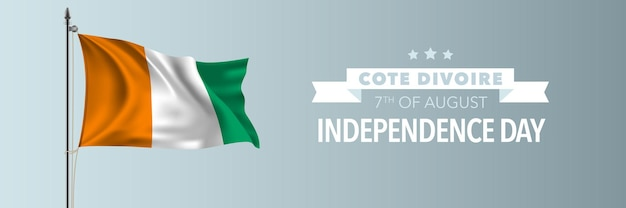 Cote divoire happy independence day greeting card banner vector illustration