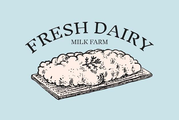 코티지 치즈 배지. 시장이나 식료품 점을위한 빈티지 로고.