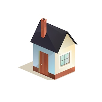 Cottage, home vector icon, low poly isometric vector illustration