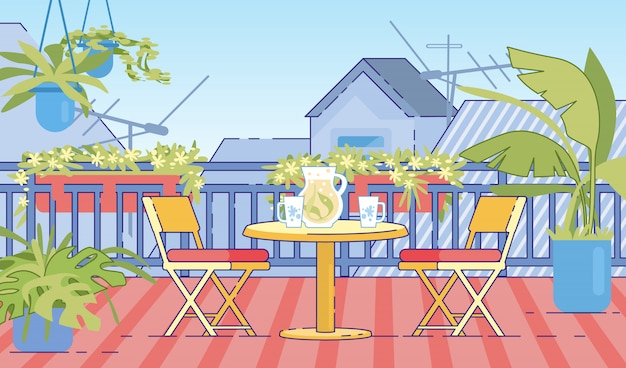 Cottage house comfortable balcony flat vector