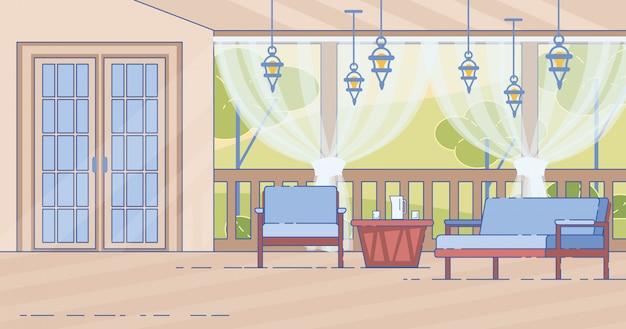 コテージハウスの快適な屋外テラス