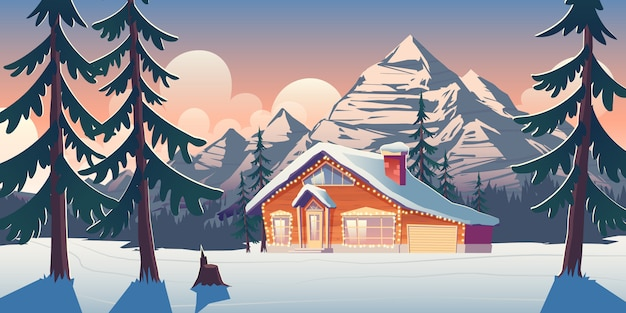 Cottage house in winter mountains cartoon illustration