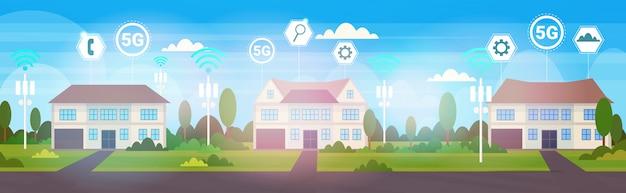 郊外の5 gオンラインワイヤレスシステム接続概念のコテージ住宅
