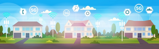 Cottage houses in suburb 5g online wireless systems connection concept