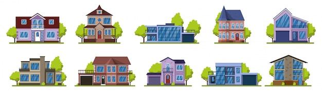コテージの家。郊外の不動産、モダンなカントリーストリートの建物。住宅イラストアイコンセットを生活します。郊外建築住宅コレクション