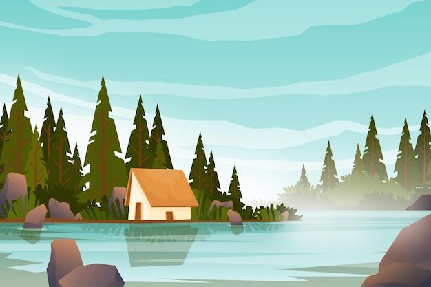 Коттедж возле большого озера в лесной зоне и восхода солнца утром, пейзажный природный фон с водными горами и скалами, концепция горизонтального летнего лагеря