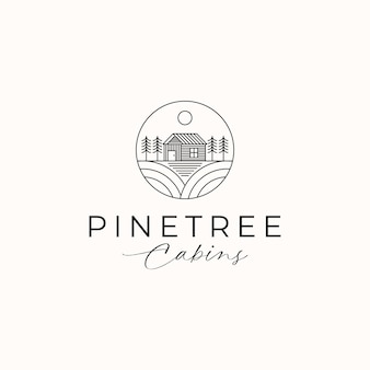 Cottage pine tree logo template isolated in white background. vector illustration