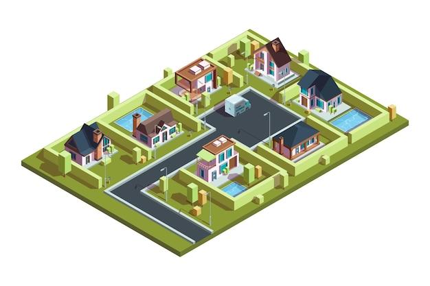 コテージビレッジアイソメトリック。郊外の近代的な住宅は、インフラストラクチャベクトル等角図を持つ小さな町のタウンハウスを収容します。イラスト3d建物アイソメトリック、都市建築