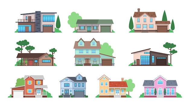 Cottages. home facades, cottage or suburban townhouse, front view family houses with garage and terrace, architecture real estate modern design flat vector isolated set