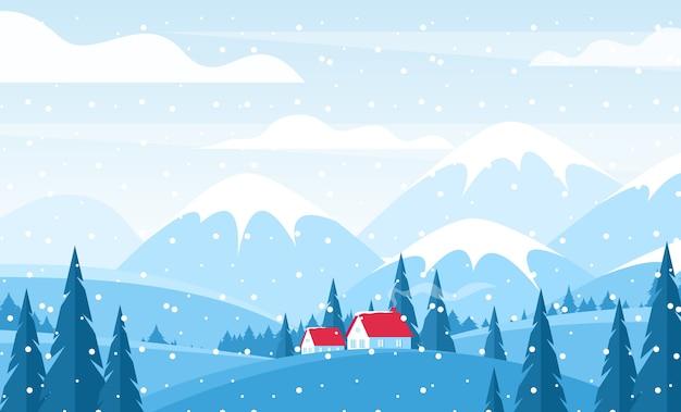 雪に覆われた丘の上に赤い瓦屋根のコテージ。雪をかぶった山々の風景、山々